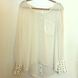 Beautiful ivory blouse with gold spike detailing